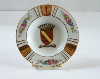 Limoges porcelain ashtray Alsace coat of arms garlands and golden trim vintage