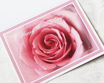 Happy Mother's Day card with pink rose