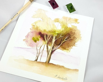 Little picture, landscapes with trees, copy of author, traditional watercolor, elegant gift idea for him, lounging, studio office decoration