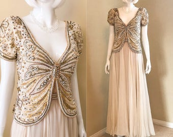 HELEN ROSE 70's Silk Chiffon Gown w Beaded Overlay, Butterfly Motif in Sequins and Pearl Bodice, Elegant Beige Evening Gown size Small