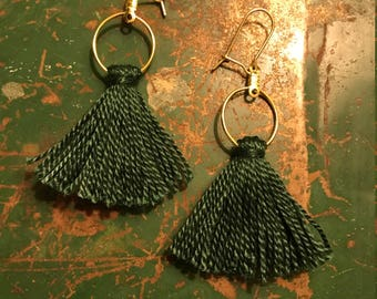 "The Birch; Simple Green Tassel Earrings; 2""; Ultra Lightweight!"