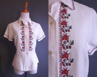 large size embroidered linen ukrainian blouse, eastern european blouse, vintage linen blouse, hand embroidered blouse, ukrainian blouse
