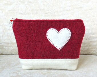 Heart Felt Zippered Pouch, Upcycled Felted Wool Sweater Clutch in Red and White