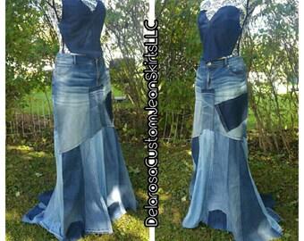 DELAROSA Britney Patchwork with train maxi denim skirt Custom Order to Your Size 0-2-4-6-8-10-12-14-16-18-20-22-24 avant-garde