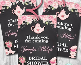 Tea Party Bridal Shower Thank you Tags, Bridal Shower Favor Tags, Tea Party Goody Bag Tags