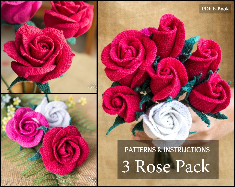 Crochet Pattern Bundle - Crochet Rose Pattern for Bouquet ...