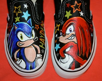 Boy's Custom Painted SONIC and Knuckles Inspired VANS Shoes Any Size