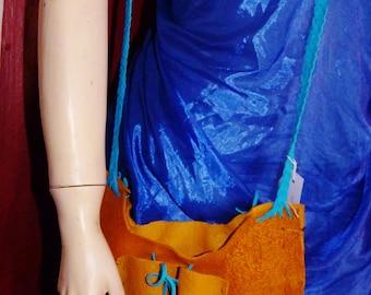 pochette en cuir, porte-clé spéciale, longue frange, regalia, sac hippie, woodstock, la peau elk extra lourd