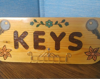 "Wood Burned, Wooden ""KEYS""  holder Sign, (6 key holder metal pegs)  12.75in x 5.5in. 25.00"