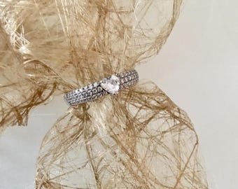 sterling silver ring, zirconium ring, engagement ring, valentine day, for her, gift for her.
