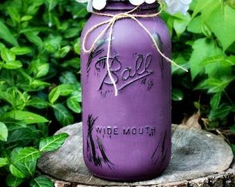 Half Gallon Painted and Distressed Mason Jar Vase. Bud Vase. Glass Vase. Floral Arrangement. Flower Holder. Mason Jar Vase. Rustic Vases.