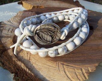 White howlite gemstone leather wrap bracelet