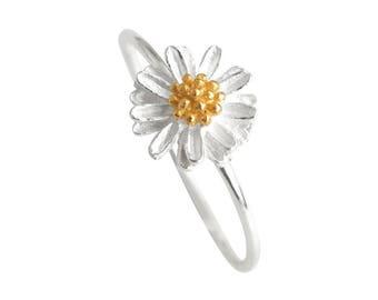 Sterling Silver Ring, Silver Flower Ring, Silver Daisy Ring, Silver Floral Ring, Silver Band Ring, Silver Dainty Ring
