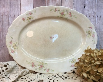 Antique Imperfect Canonsburg Pottery Platter/Pink Roses/Rustic
