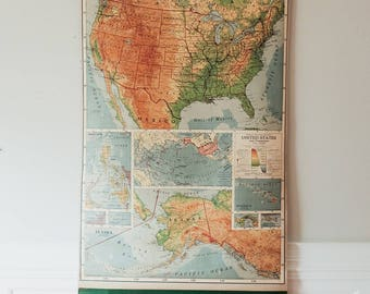 Vintage Rand McNally Pulldown Map / United States and Possessions