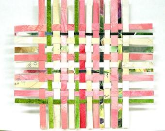 Pink Paper Weaving- 5x5- Handwoven Art- Collage, Watercolor