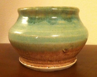Vintage Studio Pottery Bowl, Beautiful Green and Tan Glaze, Hand Turned, Hand Finished, Signed by Artist