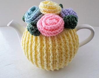 Tea Cosy Medium in the colour Lemon with Flowers on top.Crochet.