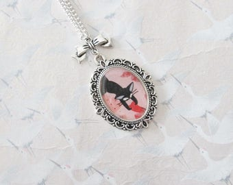 Black Cat on pink and Red cabochon silver necklace