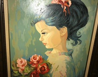Vntg PBN Paint By Number girl w/hair Bow And Flowers