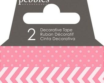 Pebbles Basics Dot & Chevron Washi Tape - Begonia -- MSRP 3.00