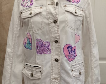 Up Cycled Customised Hearts and Ponies Ladies Denim Jacket size large