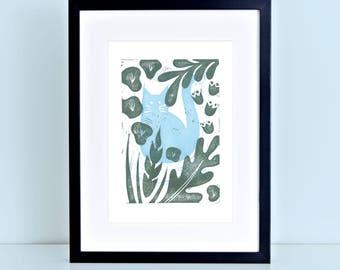 Cat Kitten Linocut Block Print Blue Garden Jungle Plants Flowers Greenery Blue Floral Gift for Cat Lover 8x10 4x6