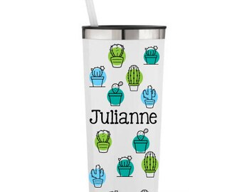 Cactus All Around with Name- Personalized 22 0z. Roadie Tumbler w/ Straw & Lid, Insulated Stainless Steel