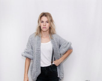 Knit Loose Sweater Oversized Knit Cardigan - Knitted Cardigan - Bomber Jacket - Chunky Knit -Knit Bomber Jacket - Loose fit  - LILU Cardigan