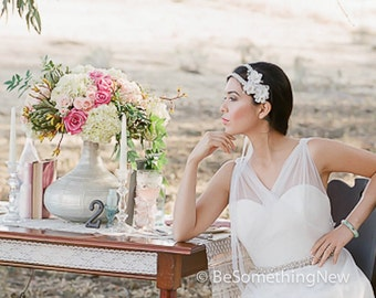 Silver and Ivory Wedding Hair Acessory Beaded Double Tie Headband with Petals and Crystals