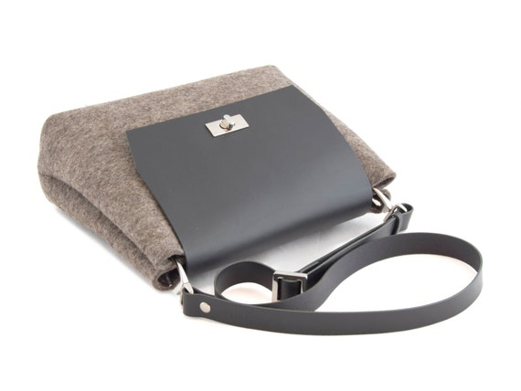 Felt and leather mini FLAP BAG, leather strap, grey, black, crossbody bag, 100% wool felt, made in Italy