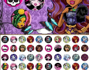 Monster high -  1/2 inch or 12 mm Images 4x6 Digital Collage INSTANT DOWNLOAD