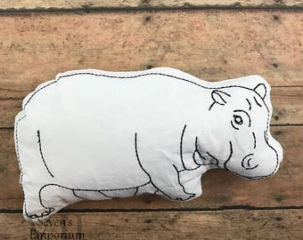 Hippopotamus Hippo In The Hoop Doodle-It  Machine Embroidery Design