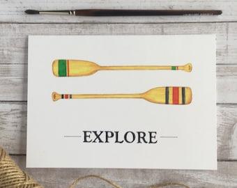 Explore with Paddles watercolour print, explore, travel, art prints
