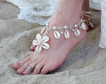 Beach Wedding Barefoot Sandals, Cowrie Sea Shell Flower, Bride Shoes, Bridesmaids Shoes, Barefoot Jewelry, Wedding Shoes, Bride Sandals