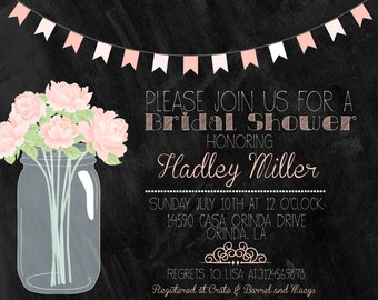 Shabby Chic Mason Jar and Chalkboard Bridal Shower Invitation