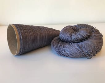 100% Mulberry Silk Lace & Sport Yarn Hand dyed Silver Gray (Cone or Hank)