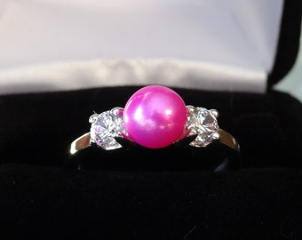 Barbie Pink Freshwater Pearl Accented Sterling Silver Ring