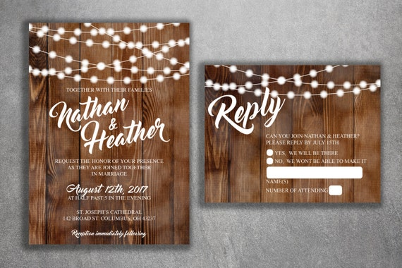 Cheap Rustic Wedding Invitations: Country Wedding Invitations Set Printed Rustic Wedding