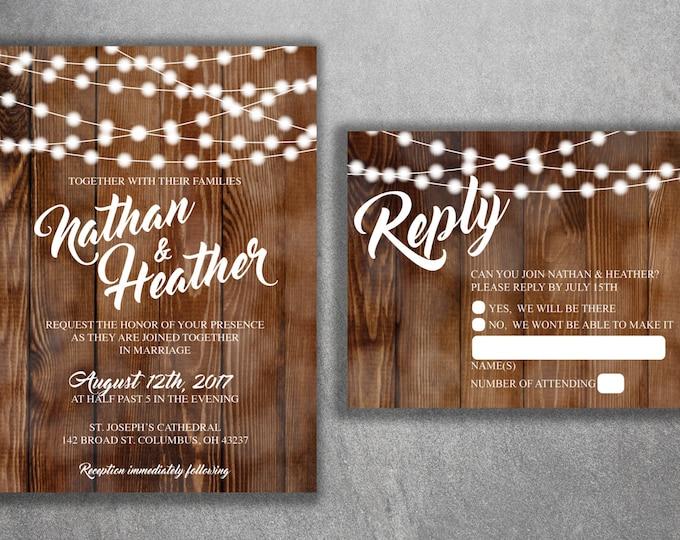 Country Wedding Invitations Set Printed, Rustic Wedding Invitation, Burlap,  Kraft, Wood,