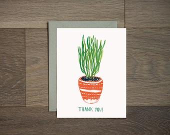 Merci cactus carte-botanique - plante d'intérieur - succulentes - peint à la main