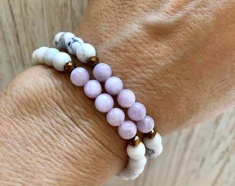 Kunzite Mala Bracelet - Mala Beads - White Howlite Mala - Yoga Bracelet - Heart Chakra - You Are Where You Should Be - Calm - Awareness