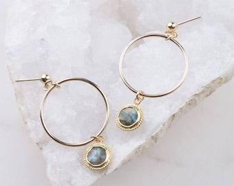 Gemstone Round Circle Dangle Hoops, Gift for Her, Everyday Earrings, Dainty Hoop Earrings, Gemstone Hoops, Gemstone Drop Hoops