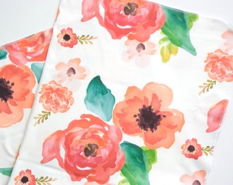 Organic cotton swaddle blanket in Floral Dreams - Pink, Coral, Blush Flowers