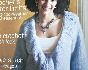 Crochet Patterns Interweave Crochet Magazine Fall 2006 Cardigans Sweaters Women Children Skirt Scarf Bag Hat Tunic Paper Original NOT a PDF