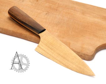 Wooden knife. Handmade robinia and walnut cheese knife. Handcrafted wood butter knife.