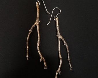 Twig Earrings, Bronze, Handmade by Jamie Spinello