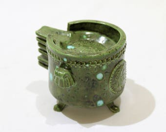 Vintage Mid Century Modern Stackable Ashtrays and Holder, Set of 6 Caesar Ashtrays, Green with Aqua Spots