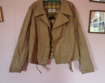 Nice trench coat short beige spring vintage double-breasted Interior tartan XS small