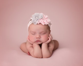Pink and Grey Baby Headband, Newborn Headband, Baby Girl Headband, Newborn Photo Prop, Photography Prop, Headband